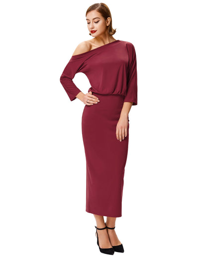Wine Red and Black Asymmetrical One Shoulder Bodycon Pencil Dress