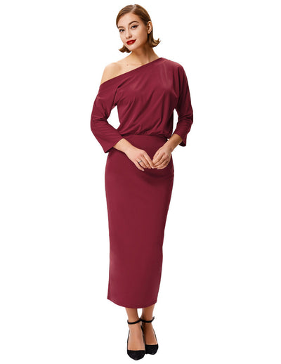 Grace Karin Women's Wine Red Asymmetrical One Shoulder Elastic Waist Hips-Wrapped Sexy Bodycon Pencil Dress