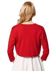 Women's Red and Black 3/4 Sleeve One Button Knitting Bolero Shrug