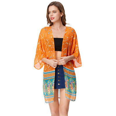 GRACE KARIN Women's Orange Free Size Thin and See-through Summer Beach Open Front Chiffon Casual Loose Coat Tops