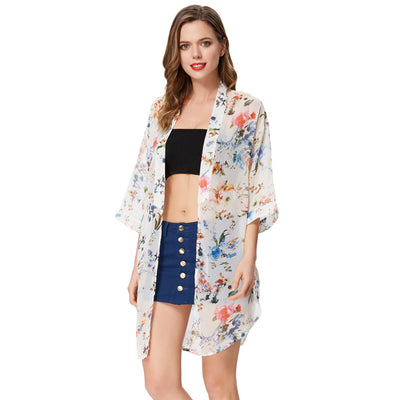 GRACE KARIN Beige Women's Kimono Sleeves Open Front Curved Summer Beach Chiffon Casual Loose Coat Tops
