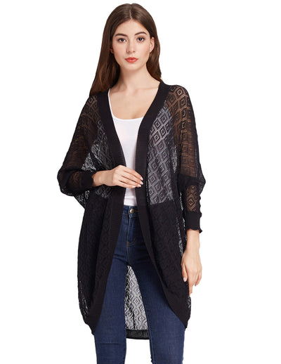 GRACE KARIN Women's Black Loose Fit 3/4 Batwing Sleeve Open Front Semi See-through Irregular High Stretchy Casual Coat Tops