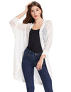 Black and Ivory 3/4 Batwing Sleeve Semi See-through Casual Coat
