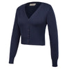 Women's Soft Cotton Nine Point Sleeve V-Neck Cropped Knitting Coat