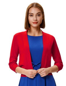 Grace Karin Women's 3/4 Sleeve Opening Front Cropped Length Soft and Comfortable Knitting Coat Tops_Red