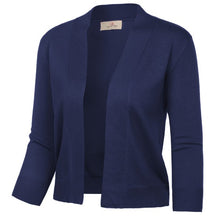 Load image into Gallery viewer, 3/4 Sleeve Opening Front Cropped Length Soft Knitting Coat