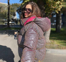 Load image into Gallery viewer, Glitter Reflective Puffer Jacket