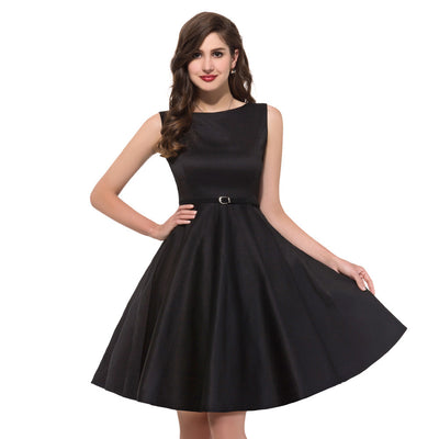 768002cd224061 Grace Karin 1950s Vintage Sleeveless Boat Neck Cotton Dress With Belt  Black