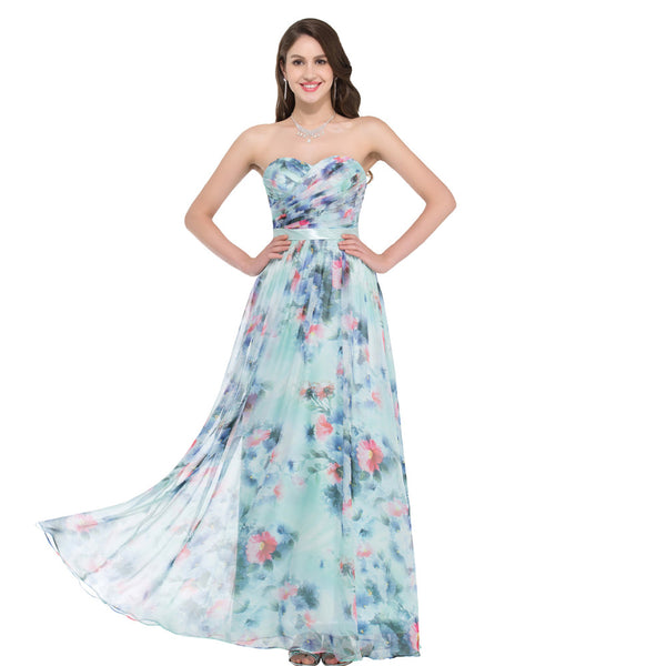 Grace Karin Floor-Length Sweetheart Off the Shoulder Ruched Bodice Flower Pattern Chiffon Prom Party Dress with Zipper