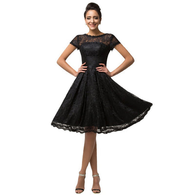 Grace Karin Short Sleeve Lace Cocktail Party Knee-Length Casual Dress_Black