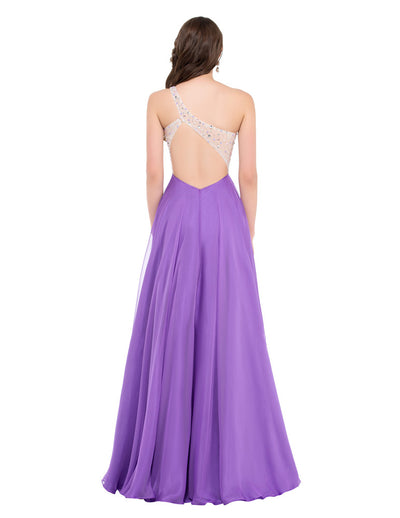 Orchid Chiffon One Shoulder Full-Length Evening Dress
