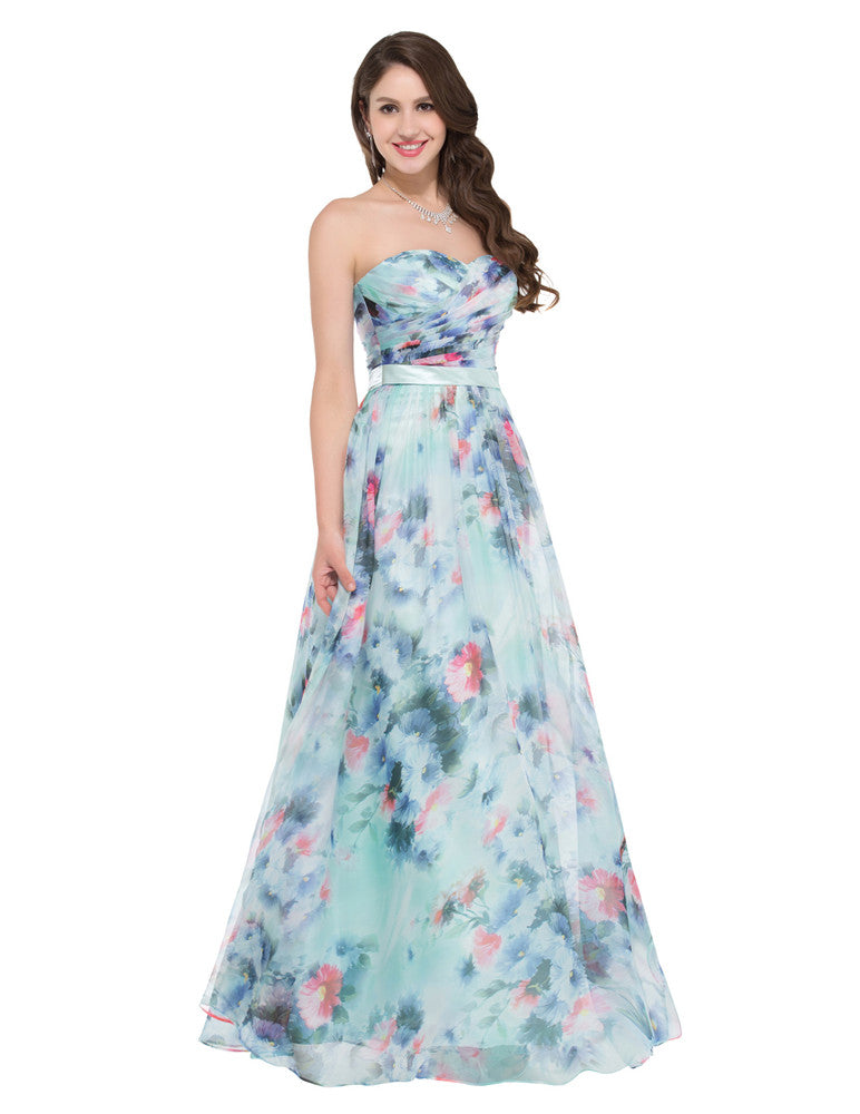 8c4badd636 ... Grace Karin Floor-Length Sweetheart Off the Shoulder Ruched Bodice Flower  Pattern Chiffon Prom Party