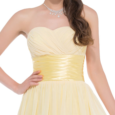 Light Yellow Chiffon Strapless Sweetheart Mid-thigh Bridesmaid Dress