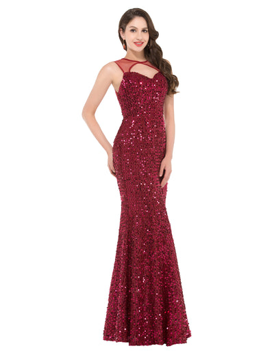 Wine Red Sequin Sleeveless Hollowed Mermaid Floor-Lenght Evening Dress