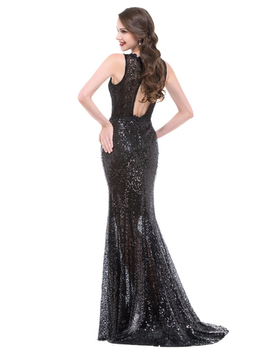 Graceful Black Sequined Sleeveless Floor-Length Formal Evening Dress