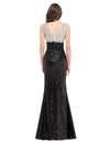 Black Sleeveless V-Neck Sequined High-Split Evening Prom Dress