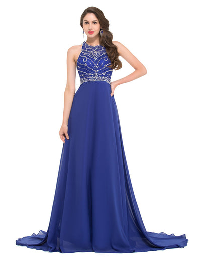 GRACE KARIN Chiffon Floor-Length Sleeveless Halter Sequined Prom Dress