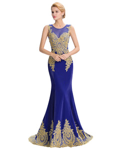 GK Sleeveless Golden Appliques Ball Gown Evening Prom Party Dress 8 Size US 2~16