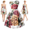 New Design Chiffon Flower Pattern Strapless Short Evening Prom Dress