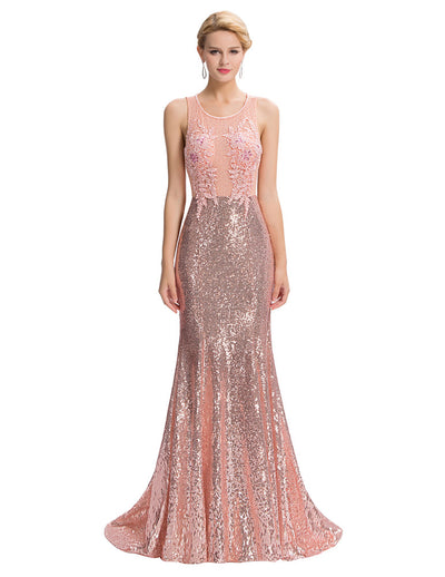 Pink Sleeveless Open Back Sequined Lace Evening Dress