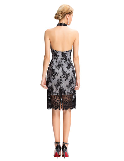 Black Lace Backless Halter Knee-Length Cocktail Party Ball Evening Dress