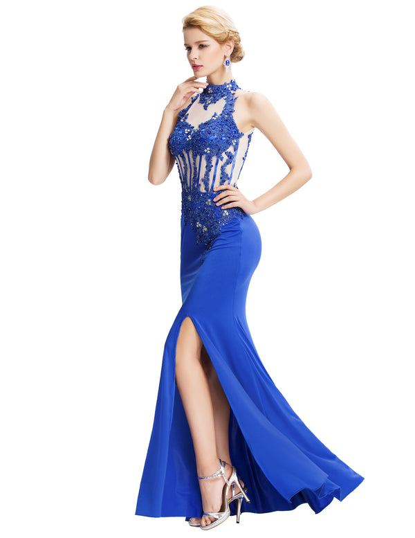 Blue Backless Halter Evening Dress - High Split, Full-Length