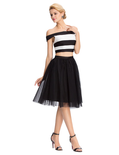 Two Piece Knee Length Off the Shoulder Tulle Homecoming Party Dress