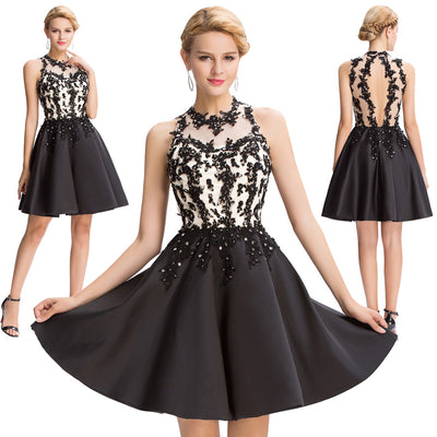 Black Satin Sleeveless Hollowed Back Ball Cocktail Evening Dress