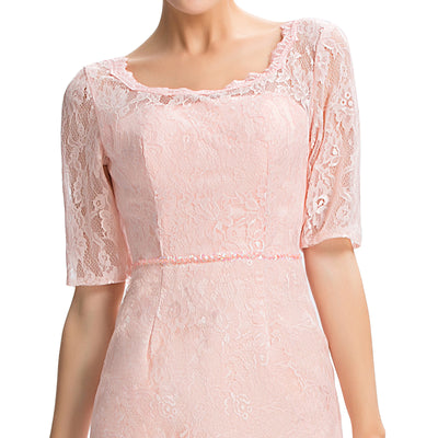 Pink Formal Occasion Half Sleeve Lace Mother Of The Bride Dress