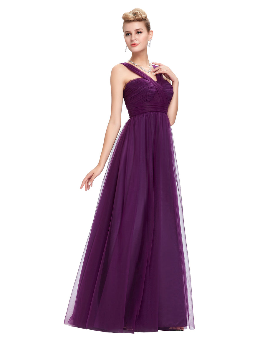 Grace Karin Women's Elegant Latest Design Purple One Layer Soft Tulle Netting Sleeveless V-Neck Ruching Bodice Empire Waist Backless Floor-Length Party Gowns Evening Prom Dress