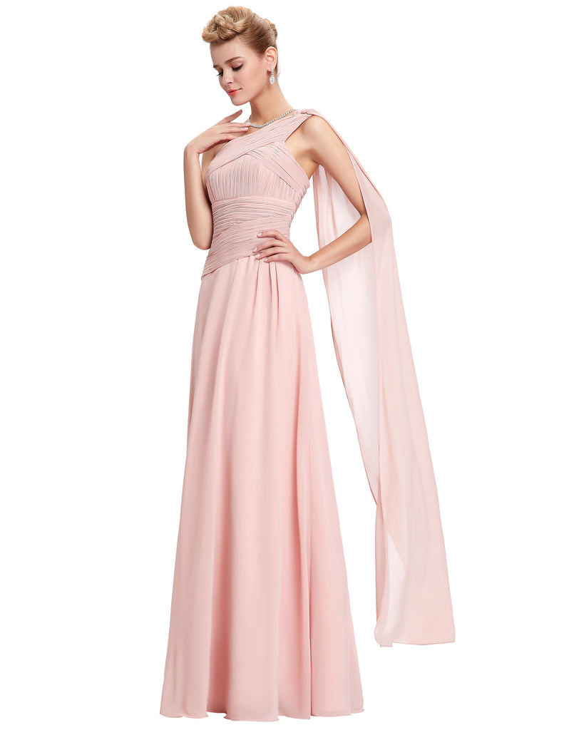 Rosa Chiffon Asymmetrisch One-Shoulder-Kleid Brautjungfer in voller Länge