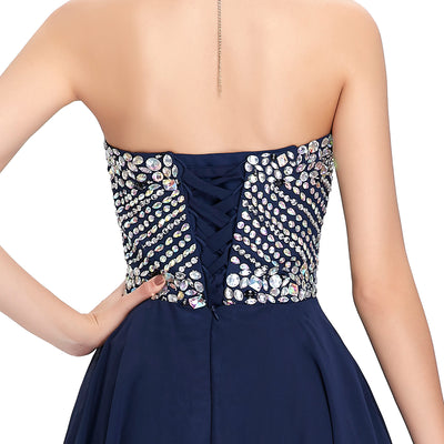 Navy Blue and Red Chiffon Strapless Sweetheart Short Evening Dress