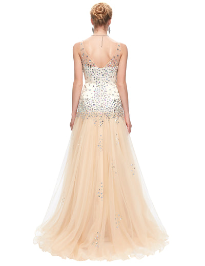 Beaded Double-V Apricot Three Layers Tulle Netting Evening Dress