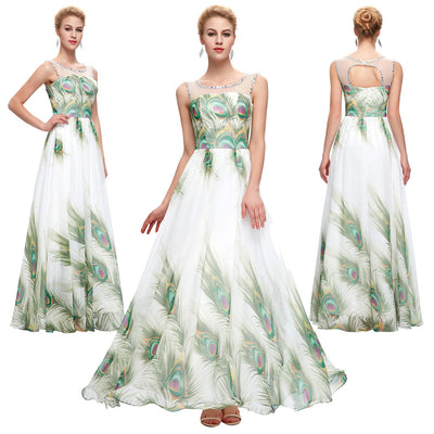 Sleeveless Crew Neck Peacock Print Chiffon Full-Length Ball Gown