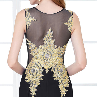 Fashion Black Sleeveless Golden Appliques Floor-Length Ball Gown
