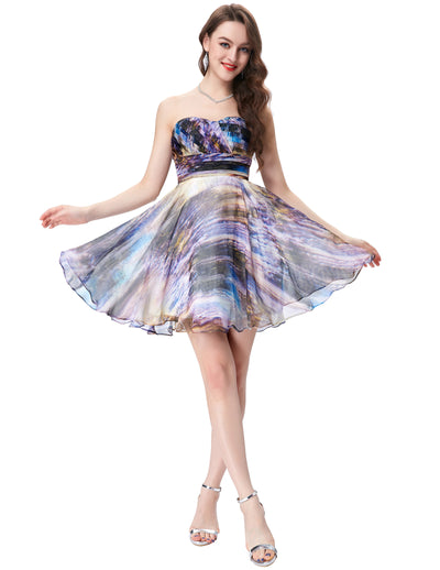 Strapless Sweetheart Chiffon Printed Mid-Thigh Evening Dress