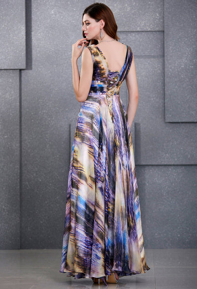 Sleeveless V-Neck Lace-Up Back Chiffon Printed Ball Gown Evening Dress