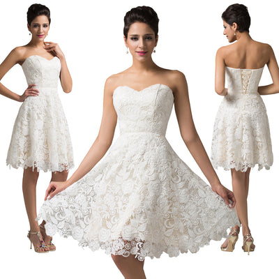 Ivory Strapless Sweetheart Lace Satin Knee-Length Cocktail Ball Gown