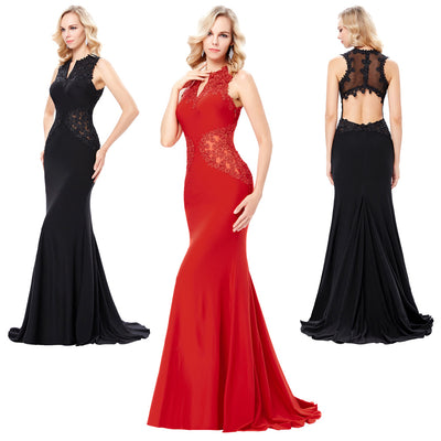 Red and Black Sleeveless V-Neck Hollowed Back Floor-Length Ball Gown