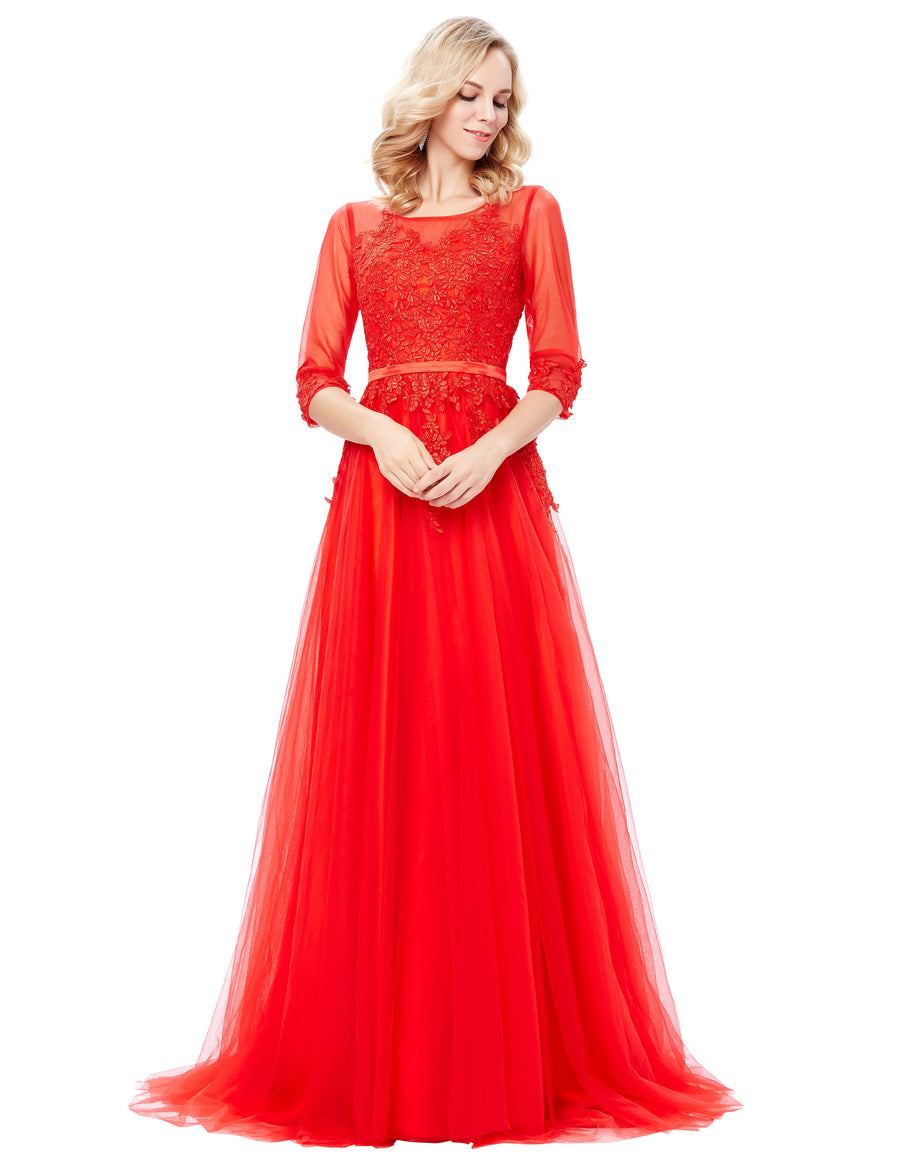 Grace Karin Red Women's Floor-Length 3/4 See-Through Sleeve Tulle Netting Ball Gown Evening Prom Party Dress with Lace Appliques Embellished