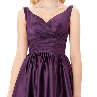 Short Watermelon Red and Purple Satin Sleeveless V-Neck Ball Gown