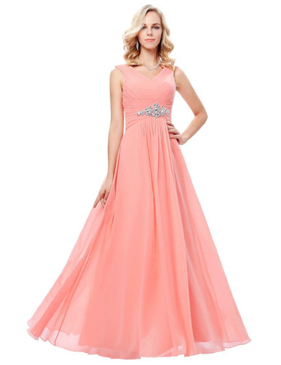 Grace Karin Women's Pink and Sky Blue Sleeveless V-Neck Full-Length Chiffon Evening Prom Party Dress