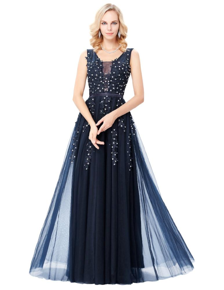 GRACE KARIN Elegant Two Layers Tulle Netting Appliqued Evening Dress