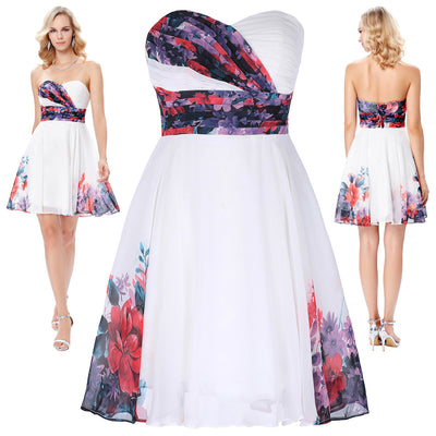 Grace Karin Strapless Flower Pattern Mid-Thigh Length Chiffon Ball Gown