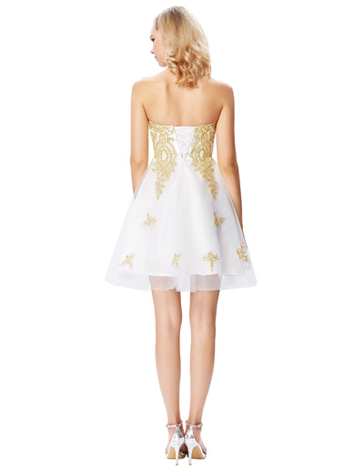 White Strapless Sweetheart Golden Appliqued Knee-Length Ball Gown
