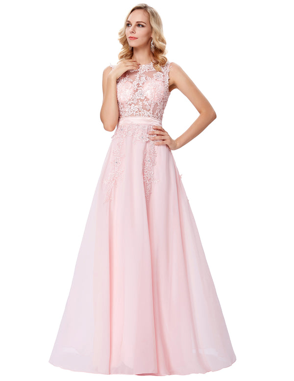 Grace Karin Women's Pink Chiffon Sleeveless Sheer Bodice Floor-Length Ball Gown Evening Prom Party Dress with exquisite lace appliques embellished