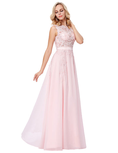 Pink Chiffon Sleeveless Sheer Bodice Floor-Length Evening Dress