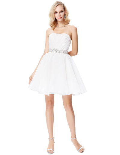 White Voile Mid-Thigh Strapless Cocktail Ball Gown Evening Dress