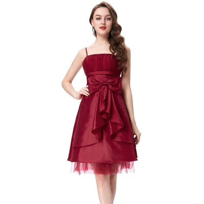 Grace Karin Women's Knee-Length Spaghetti Straps Straight-Neck Bow-Knot Decorated Ball Gown Evening Prom Party Dress_Dark Red
