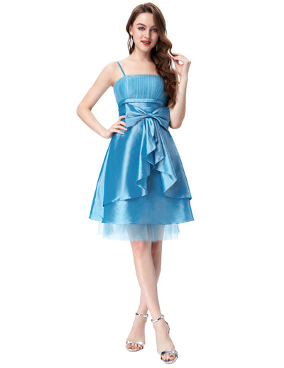Grace Karin Women's Knee-Length Spaghetti Straps Straight-Neck Bow-Knot Decorated Ball Gown Evening Prom Party Dress-Sky Blue